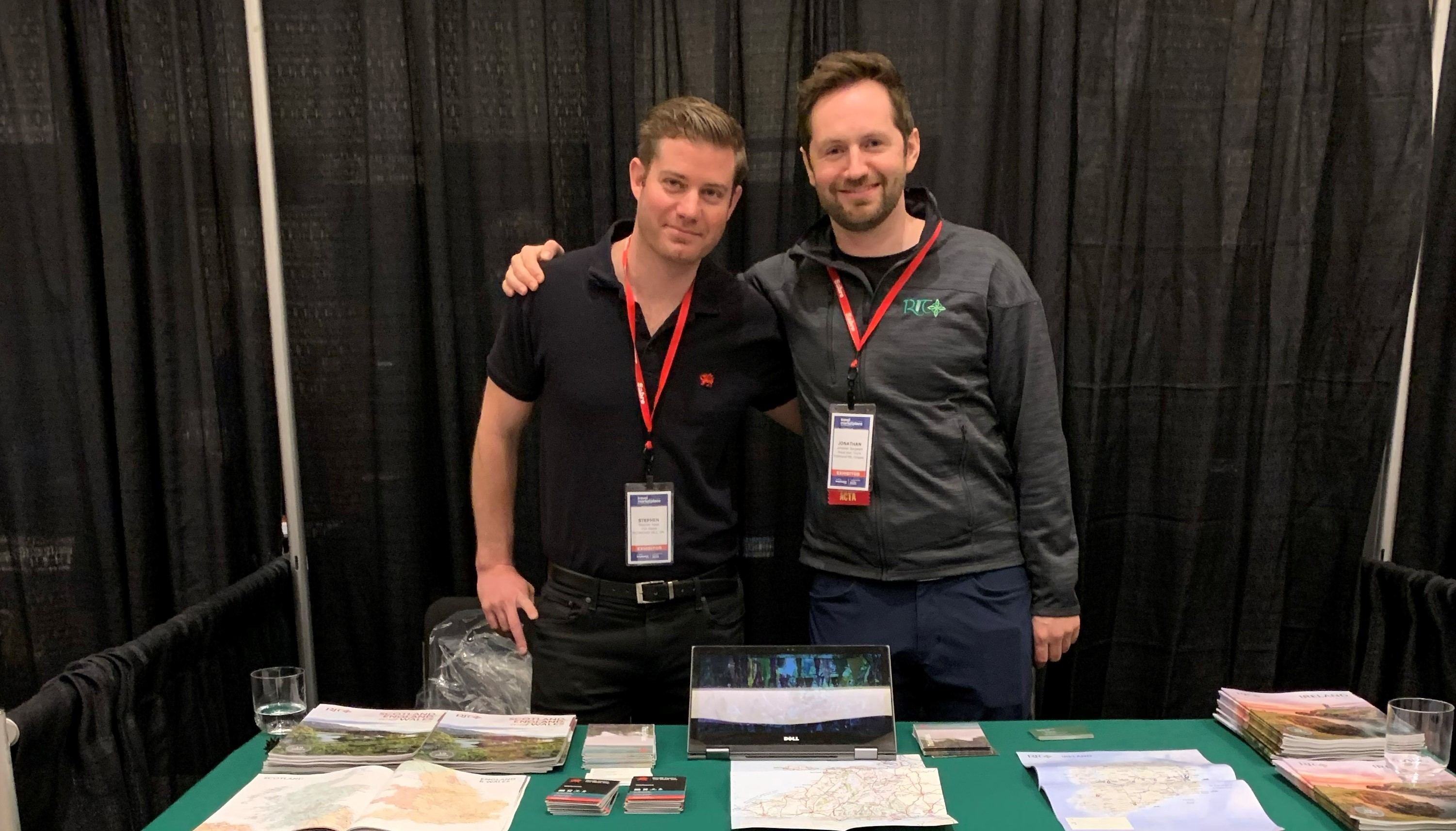 Stephen Nase and Jonathan Sargeant from Royal Irish Tours at their booth during the Travel Market Place West 2020 Trade show